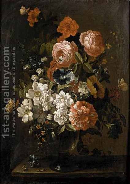 Still Life With Various Flowers In A Glass Vase, On A Stone Ledge by (after) Pieter Hardime - Reproduction Oil Painting
