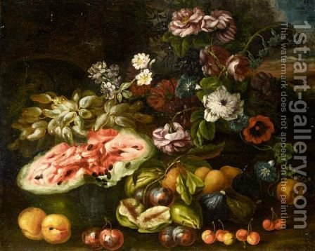 Still Life Life With Grapes, A Melon, Figs, Plums, Peaches And Various Flowers In A Landscape by (after) Abraham Brueghel - Reproduction Oil Painting