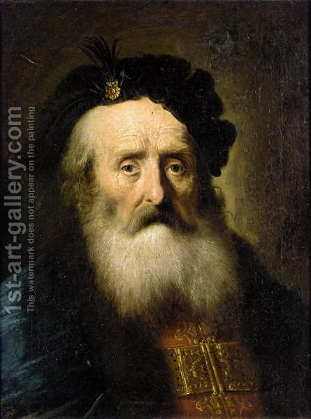 Portrait Of An Elderly Gentleman Wearing A Blue Fur Lined Cloak by (after) Christian Wilhelm Ernst Dietrich - Reproduction Oil Painting