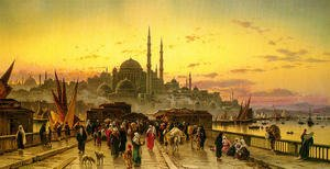 Hermann David Solomon Corrodi reproductions - The Galata Bridge And The Yeni Valide Djami, Constantinople