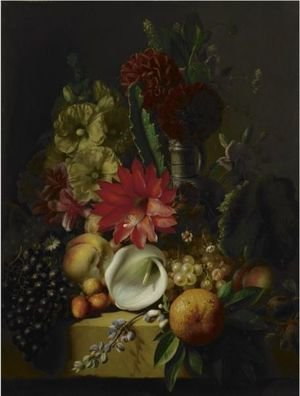 Flowers And Fruit On A Ledge