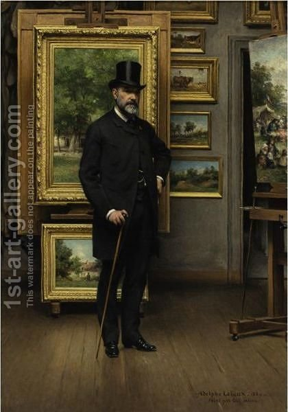 Self Portrait In A Picture Gallery by Adolphe Pierre Leleux - Reproduction Oil Painting
