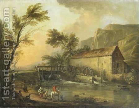 Paysage Au Moulin A Eau by (after) Jean-Baptiste Lallemand - Reproduction Oil Painting