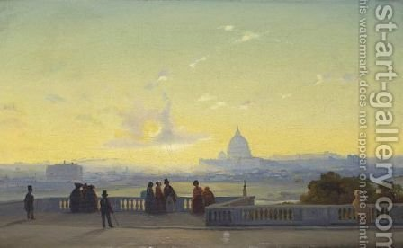 Vue De Rome Depuis Le Pincio by Ippolito Caffi - Reproduction Oil Painting