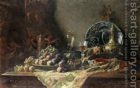 Nature Morte Au Verre Et A La Coupe De Fruits by Gustave-Emile Couder - Reproduction Oil Painting