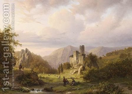 Anglers In A Mountainous Landscape by Alexander Joseph Daiwaille - Reproduction Oil Painting