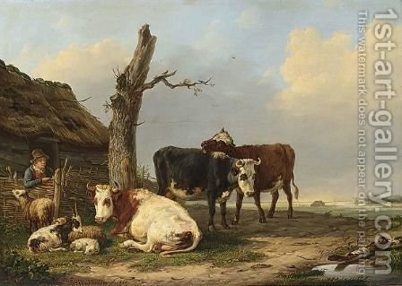 Cattle Near A Farm by Hendrik Adam Van Der Burgh - Reproduction Oil Painting
