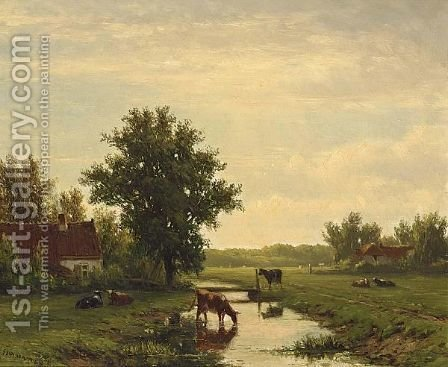 Cows In A Summer Landscape by Jacob Jan van der Maaten - Reproduction Oil Painting