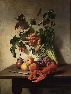 Reproduction oil paintings - David Emil Joseph de Noter - A Fruit And Vegetable Still Life With A Lobster And A Knife