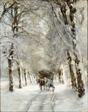 A Horse And Carriage On A Snowy Lane