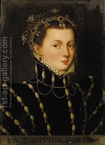 PORTRAIT OF A NOBLEWOMAN, PROBABLY PHILIPPINA WELSER (1527-80) by (after) Anthonis Mor Van Dashorst - Reproduction Oil Painting