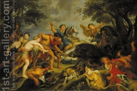 The Caledonian Boar Hunt by (after) Sir Peter Paul Rubens - Reproduction Oil Painting