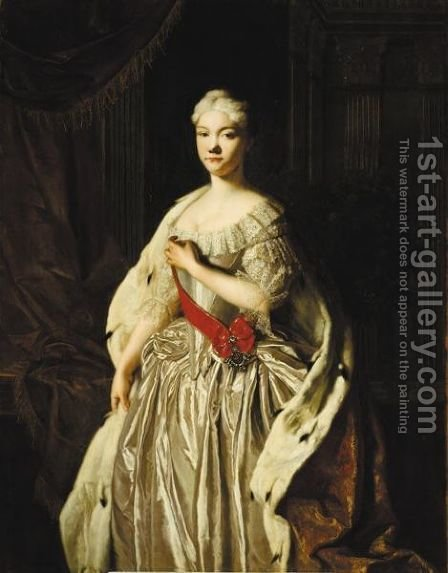 Portrait Einer Prinzessin, Vielleicht Die Grossfurstin Natalie Von Russland (1714-1728) by (after) Pietro Antonio Rotari - Reproduction Oil Painting