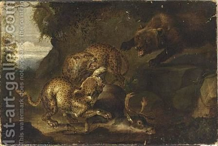 A Bear Attacking Leopards, A Deer Lying On The Woodland Soil by (after) Carl Borromaus Andreas Ruthart - Reproduction Oil Painting