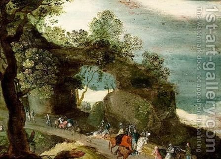 An Extensive Hilly Landscape With Horsemen And Travellers On A Path by (after) Jan, The Younger Brueghel - Reproduction Oil Painting