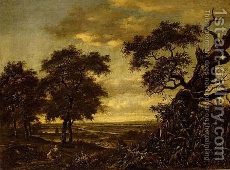 Travellers On A Path In An Extensive Wooded Landscape by (after) Jan Wijnants - Reproduction Oil Painting