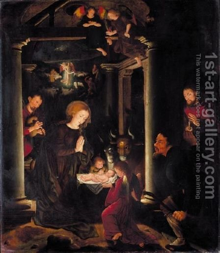 The Adoration Of The Shepherds, With The Annunciation To The Shepherds Beyond by (after) Bruges - Reproduction Oil Painting