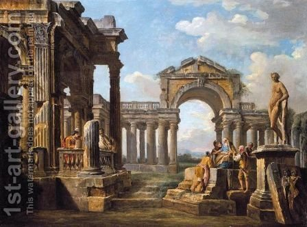 An Architectural Capriccio With A Philosopher And Soldiers Amongst Ancient Ruins by (after) Giovanni Paolo Panini - Reproduction Oil Painting