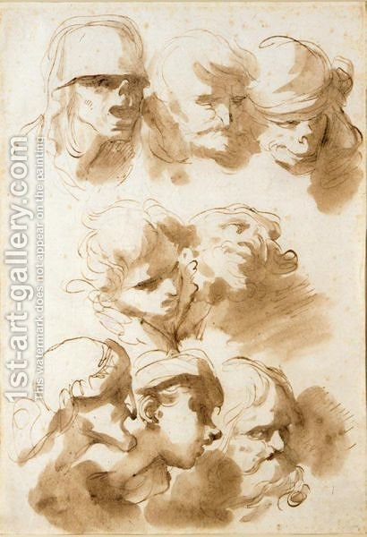 Sheet Of Studies Of Heads by (after) Gaetano Gandolfi - Reproduction Oil Painting