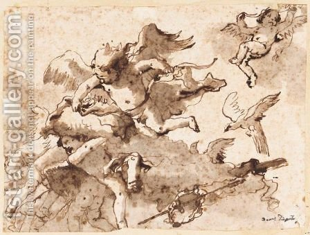 Cupid And Putti In The Clouds by Giovanni Domenico Tiepolo - Reproduction Oil Painting