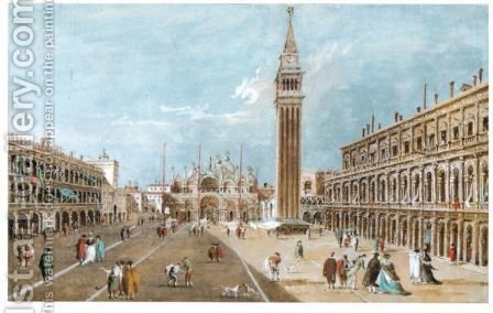View Of Piazza San Marco by (after) Giacomo Guardi - Reproduction Oil Painting