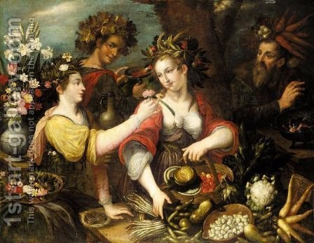 An Allegory Of The Four Seasons by (after) Jean Baptiste De Saive - Reproduction Oil Painting