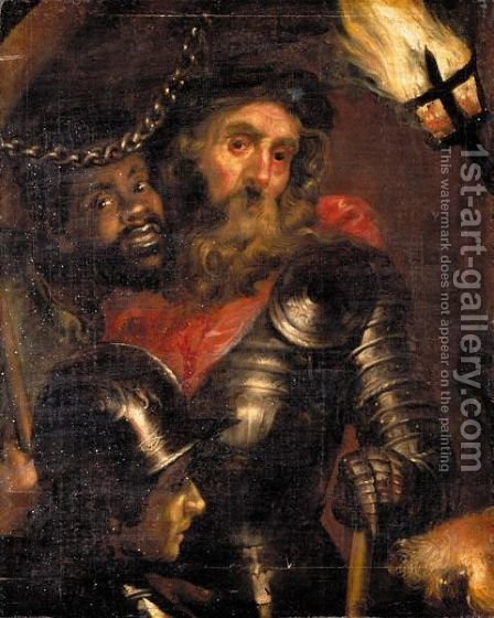 Portrait Of A Military Commander, With His Moorish Slave And A Soldier, By Torch Light by (after) Sir Peter Paul Rubens - Reproduction Oil Painting
