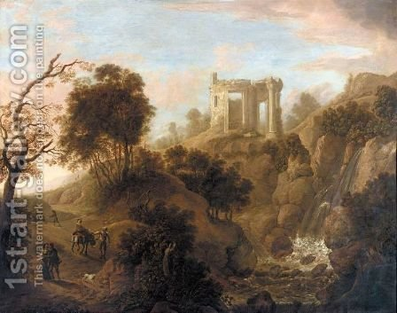 A Capriccio View Of Tivoli With Travellers by (after) Nicolaes Berchem - Reproduction Oil Painting