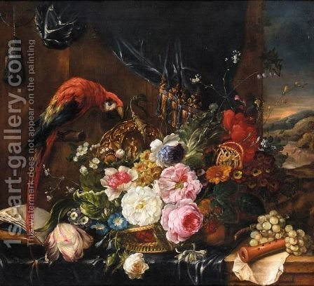 A Still Life Of Various Flowers In A Basket With A Parrot by (after) Pierre-Nicolas Huillot - Reproduction Oil Painting
