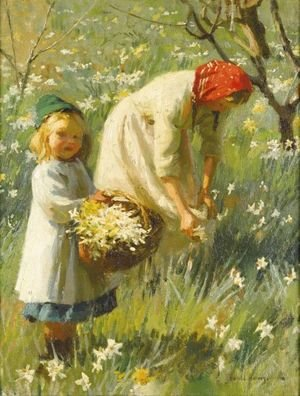 Reproduction oil paintings - Harvey Harold - Picking Daffodils