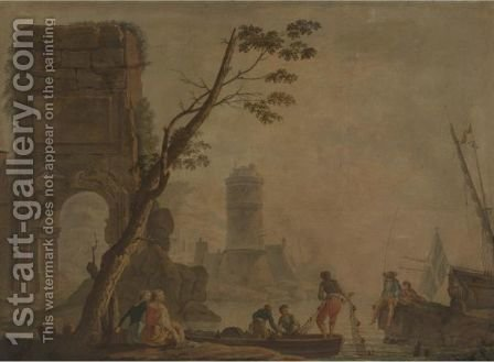 View Of A Port With Fishermen And Lighthouse by (after)  Claude-Joseph Vernet - Reproduction Oil Painting