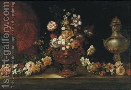Still Life With Flowers And Urn by (after) Jean-Baptiste Monnoyer - Reproduction Oil Painting