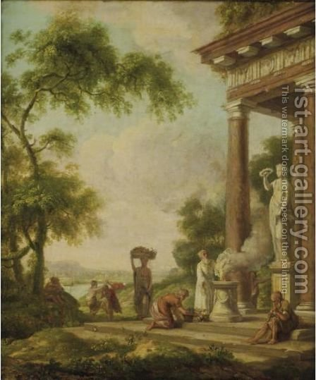 Classical Landscape With A Priest Making A Sacrifice by (after) Gerard Hoet - Reproduction Oil Painting