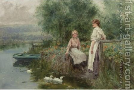 Feeding The Ducks 2 by Henry John Yeend King - Reproduction Oil Painting