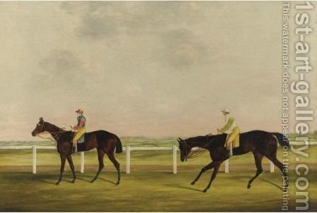Colonel King's 'bessie Bedlam' Ridden By T. Lye And Mr. Golden's 'robin Hood' by (after) Samuel Spode - Reproduction Oil Painting