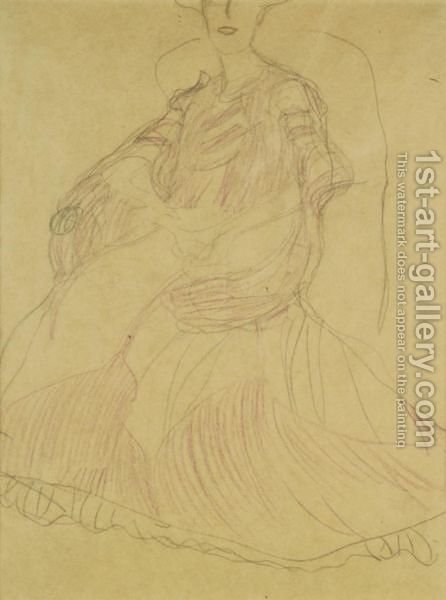 Sitzend Nach Links, Die Hande Ineinandergelegt (Seated To The Left, Hands Clasped) by Gustav Klimt - Reproduction Oil Painting