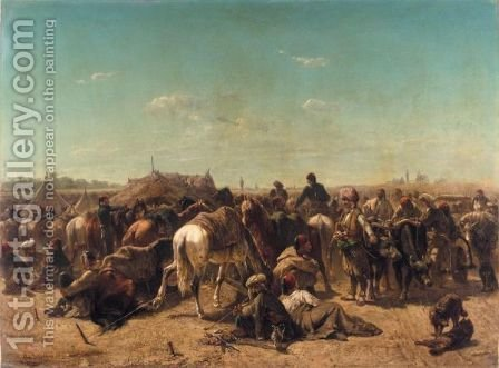 Ottoman Encampment by Adolf Schreyer - Reproduction Oil Painting