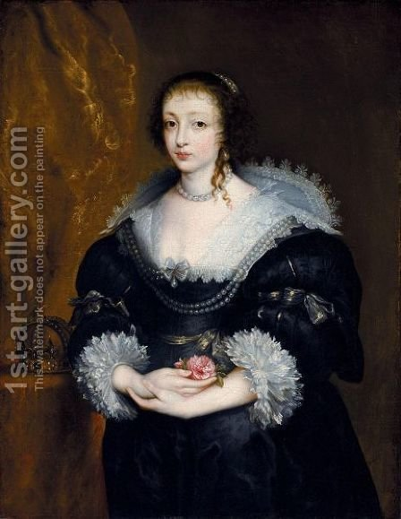 Portrait Of Queen Henrietta Maria by (after) Dyck, Sir Anthony van - Reproduction Oil Painting