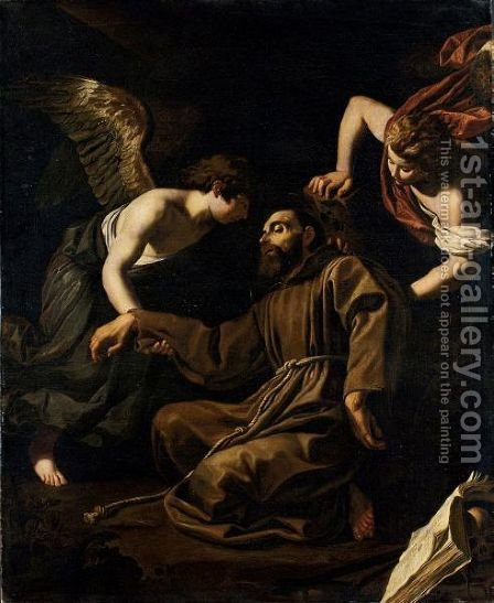 San Francesco Sorretto Da Due Angeli by (after) Antiveduto Gramatica - Reproduction Oil Painting