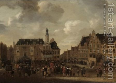 A View Of The Grote Markt In Haarlem, Looking From The St. Bavo Church Towards The Town Hall by (after) Cornelis Beelt - Reproduction Oil Painting