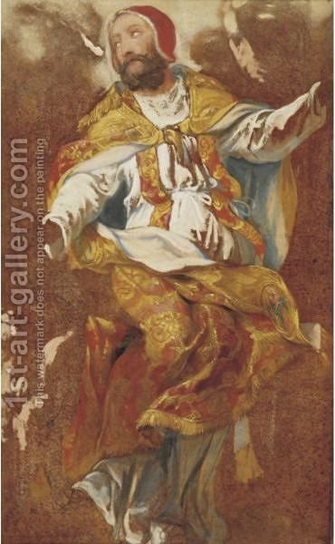 Study For A Figure Of A Pope by (after) Jacques (Le Bourguignon) Courtois - Reproduction Oil Painting