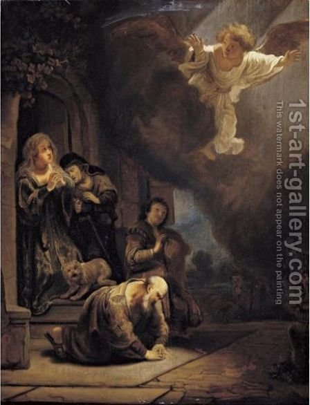 The Archangel Raphael Taking Leave Of Tobit by (after) Harmenszoon Van Rijn Rembrandt - Reproduction Oil Painting