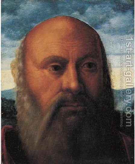 Head Of A Man, A Fragment by (after) Giovanni Bellini - Reproduction Oil Painting