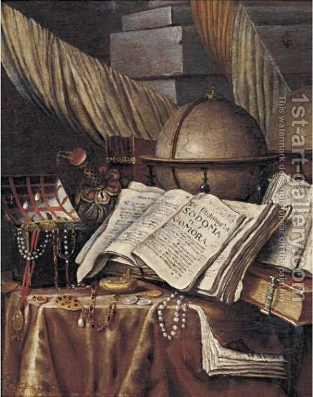 Vanitas Still Life With A Globe, Books And A Box Of Jewels All Resting On A Draped Table by (after) Edwart Collier - Reproduction Oil Painting