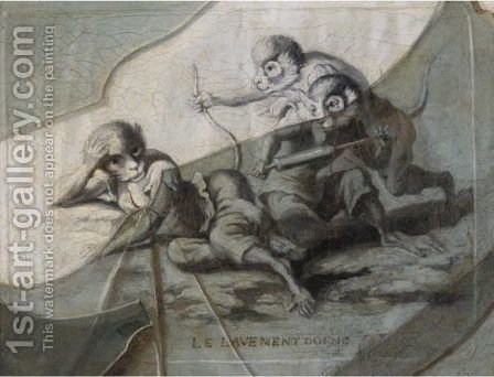 A Trompe L'Oeil Of Broken Glass Over A Print Entitled Le Lavement Donne by (after) Etienne Moulineuf - Reproduction Oil Painting