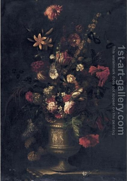 Still Life Of Flowers In A Vase, Resting On A Ledge by (after) Giovanni Stanchi - Reproduction Oil Painting