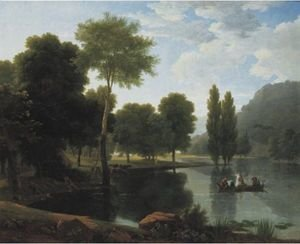 Reproduction oil paintings - Jean-Victor Bertin - Rowing Party In A Landscape