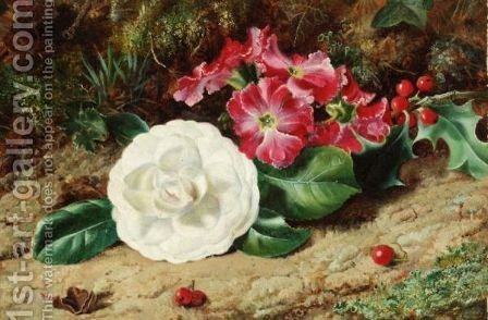 A Camelia On A Mossy Bank by (after) George Clare - Reproduction Oil Painting