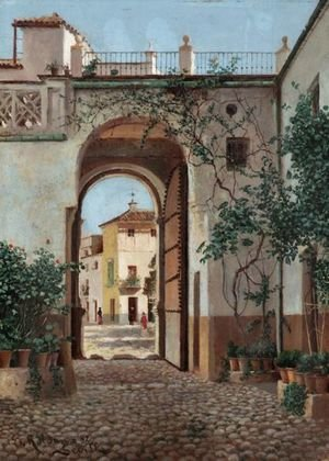 Famous paintings of Spain: A Spanish Courtyard