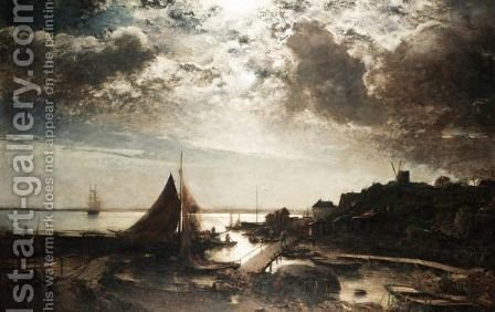 Moonlit Harbour Scene by Alfred Wahlberg - Reproduction Oil Painting